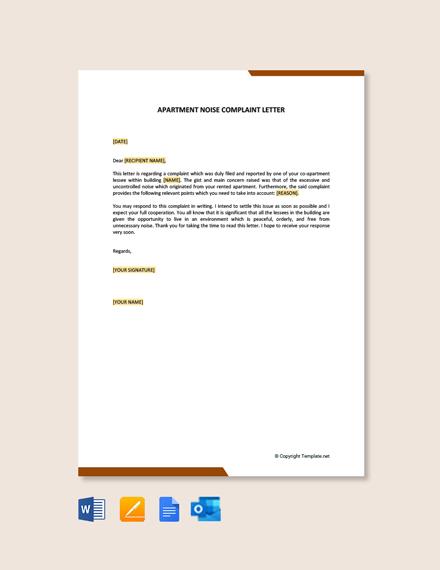 Free Apartment Noise Complaint Letter