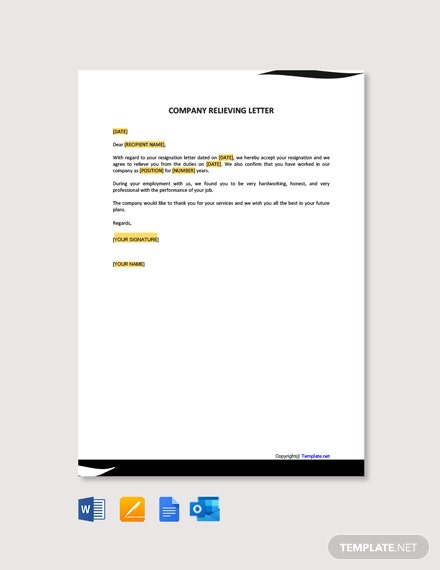 Company Relieving Letter Template