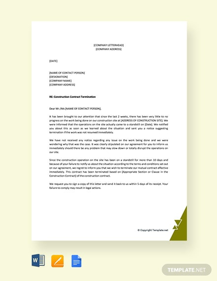 Free Construction Contract Termination Letter