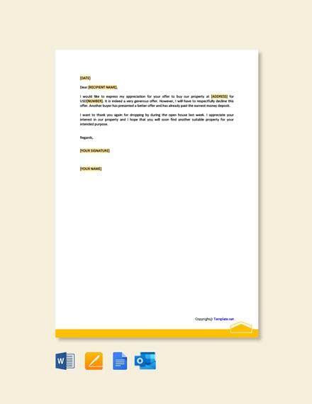 Free Decline Real Estate Offer Letter
