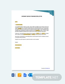Free Internet Service Termination Letter