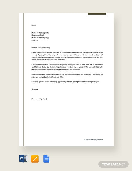 Free Internship Acceptance Letter from Student to Company