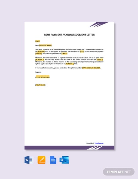 Free Rent Payment Acknowledgment Letter