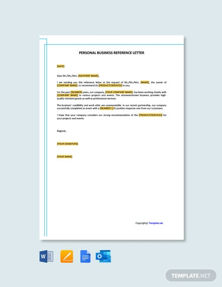 Free Personal Business Reference Letter