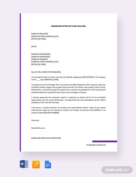 FREE Resignation Letter Due to No Childcare Template - Word ...