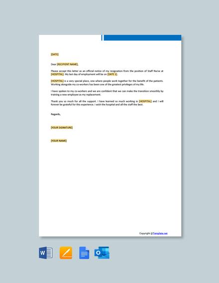 Free Staff Nurse Resignation Letter