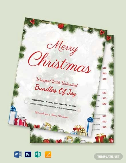 Free Elegant Christmas Menu Template