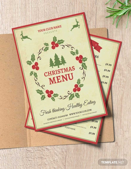 Free Christmas Party Menu Template