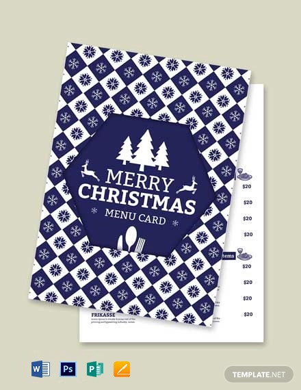 Free Christmas and New Year Menu Template