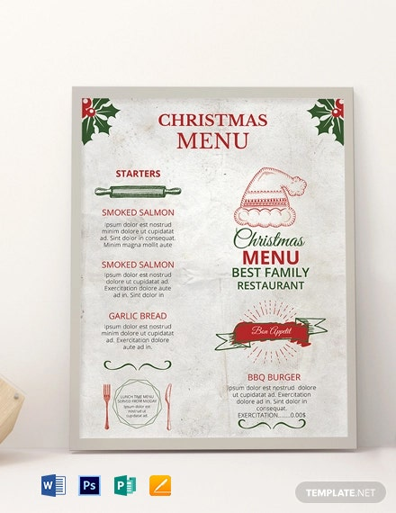 Free Restaurant Christmas Menu Template