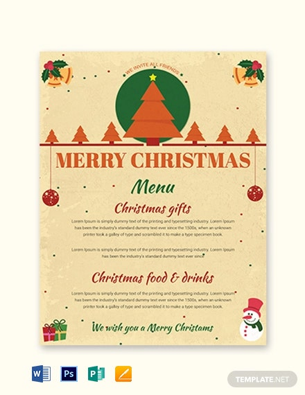 Free Merry Christmas Menu Template