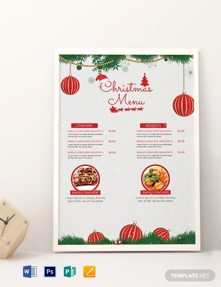 Snowflakes Christmas Menu Template