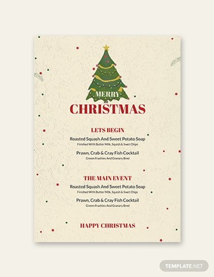Free Christmas Drinks Menu Template