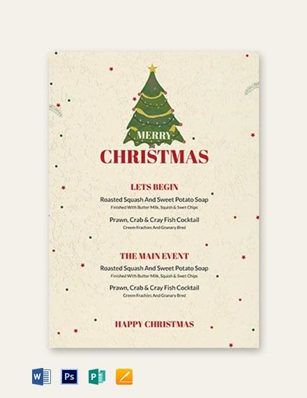 Christmas Drinks Menu Template