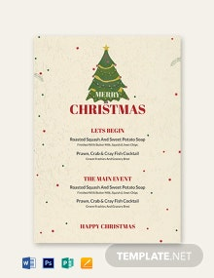 Free Christmas Drinks Menu Template