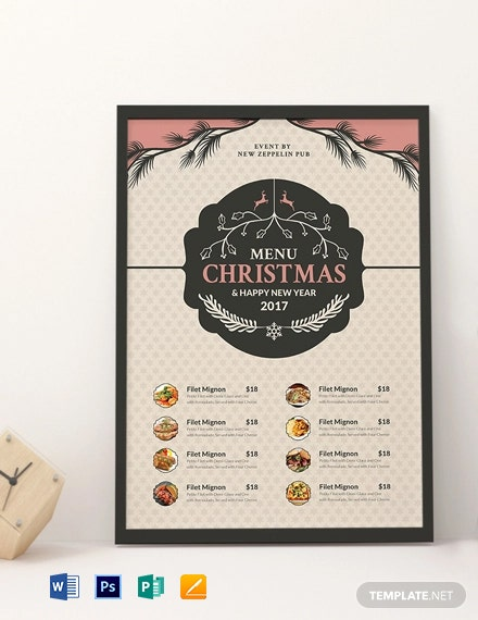 Free Christmas Holiday Menu Template