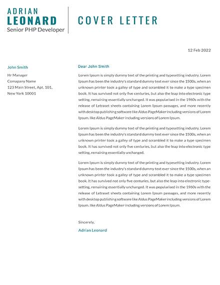 PHP Developer Cover letter