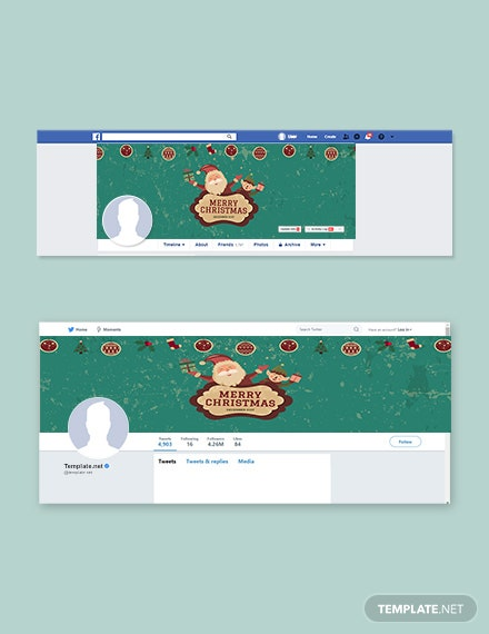 Free Vintage Christmas Facebook and Twitter Cover Page