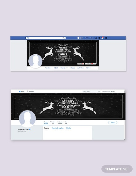 Free Chalkboard Christmas Facebook and Twitter Cover Page