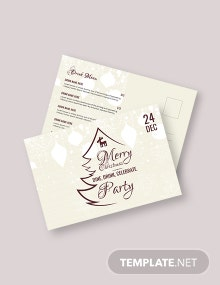 Free Christmas Party Postcard Template
