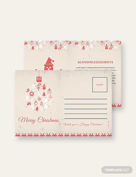 Free Merry Christmas Postcard Template