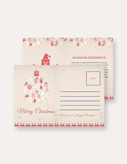 Free Merry Christmas Postcard Template
