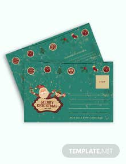 Free Vintage Christmas Postcard Template