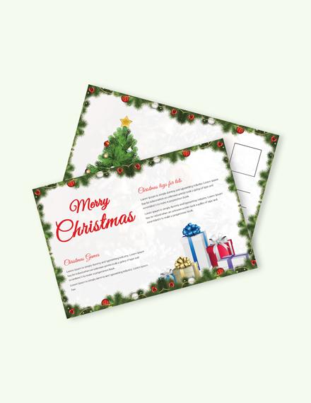 Free Snowflake Christmas Postcard Template