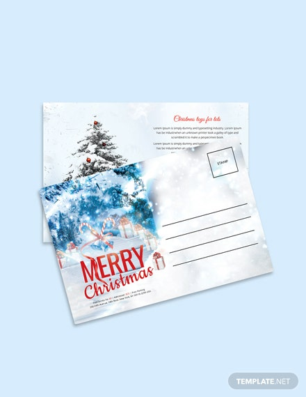 Free Christmas Invitation Postcard Template