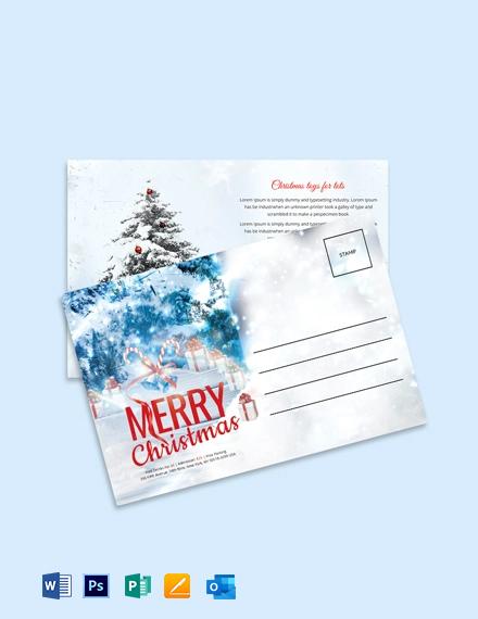 Free Christmas Invitation Postcard Template
