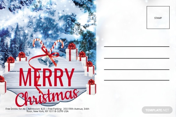 Christmas Invitation Postcard Template