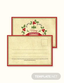 Free Simple Christmas Postcard Template