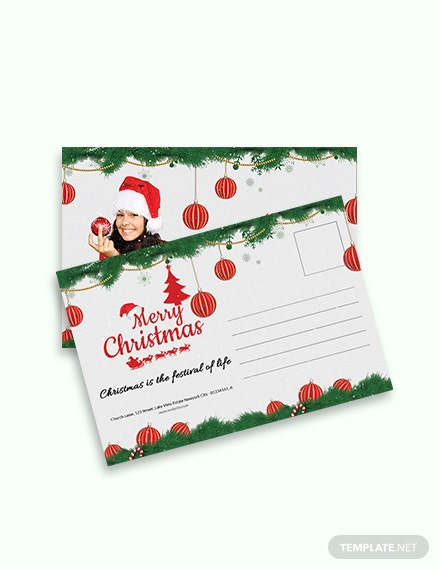 Free Christmas Family Postcard Template