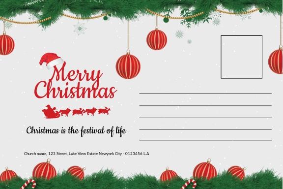 Free Christmas Family Postcard Template