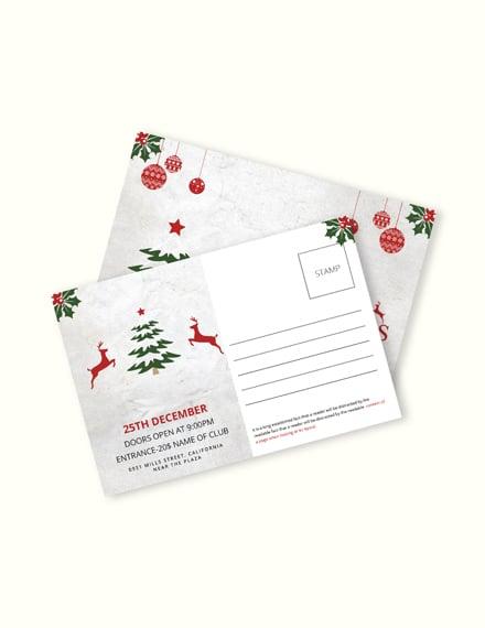 Free Elegant Christmas Postcard Template