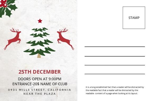 Free Elegant Christmas Postcard Template 1.jpe