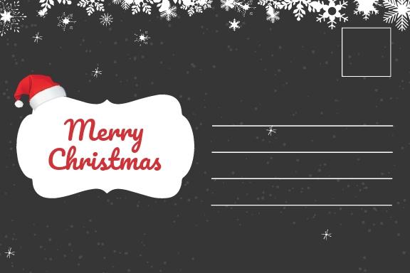Free Chalkboard Christmas Postcard Template.jpe