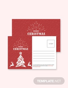 Free Retro Christmas Postcard Template