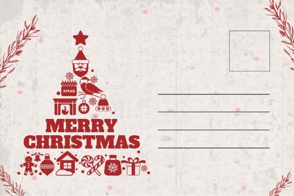 Minimalist Christmas Postcard Template