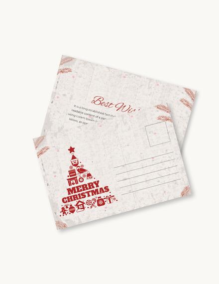 Free Minimalist Christmas Postcard Template