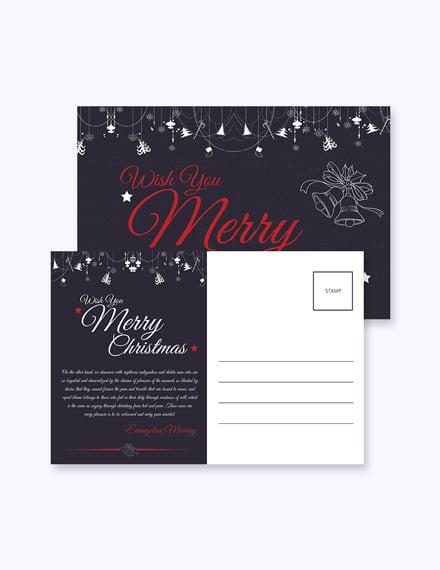 Free Elegant Merry Christmas Postcard Template