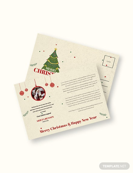 Free Christmas and New Year Postcard Template