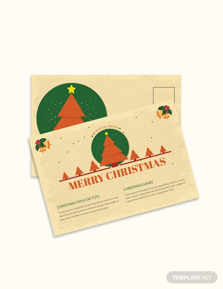 Free Merry Christmas Invitation Postcard Template
