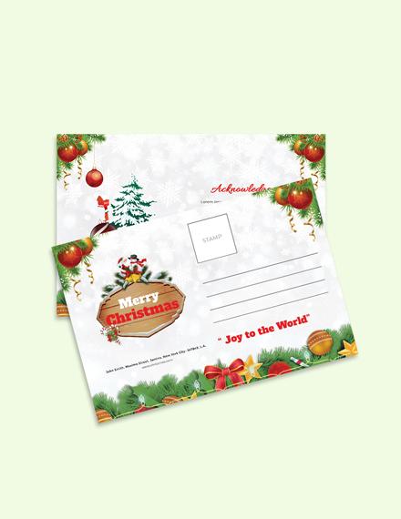 Free Christmas Brochure Postcard Template