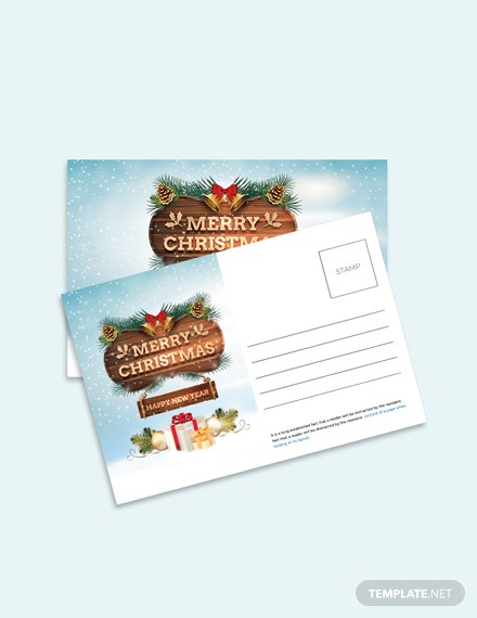 Free Christmas Thank You Postcard Template