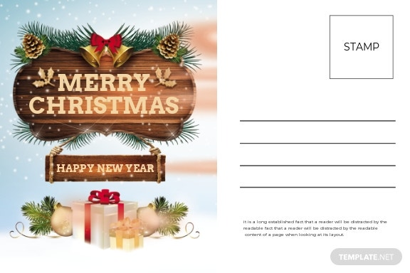 Christmas Thank You Postcard Template
