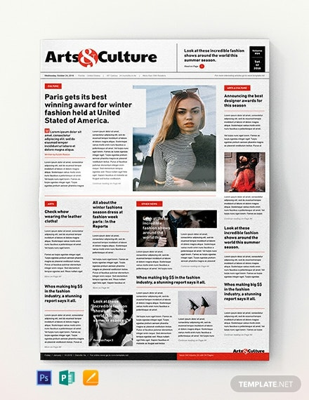 Art and Culture Newspaper Template