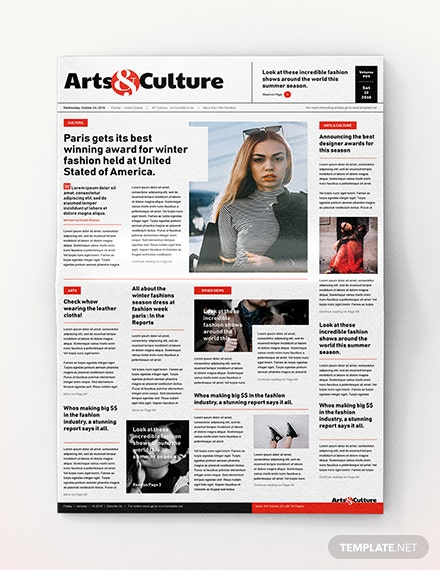 Art and Culture Newspaper Template