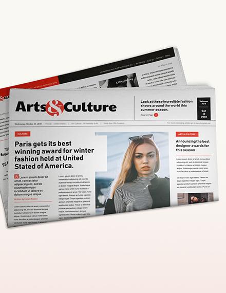 Sample Art and Culture Newspaper