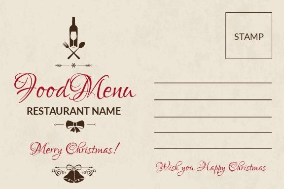 Restaurant Christmas Postcard Template